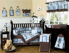 Blue and Brown Geo Collection 9 pc Crib Bedding Set by JoJo Designs #baby #bedding