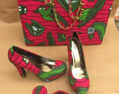 African Print Shoes and Purse. African Fabric di EJAfricanProducts