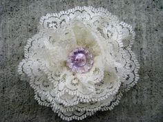 lace flowers--great use for antique lace scraps!