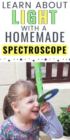 This little girl is looking through her very own homemade spectroscope (kaleidoscope) that she made as part of a kids STEM activity.  She learned about light refraction and what happens when light is separated.  This is a fun STEAM activity for kids!  Kids arts and crafts ideas are also a fun way to entertain kids during the summer time, making this a fun summer activity for kids and families.  What will your kids learn about light with their homemade spectroscope? Steam Activities, Science Activities For Kids, Summer Activities For Kids, Hands On Activities, Indoor Activities, Family Activities, Water Games For Kids, Stem For Kids, Steam Education