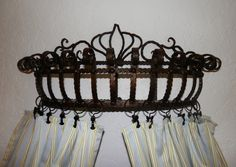 Bed Crown & Curtain 03 - Pot rack turned into crown curtain holder?