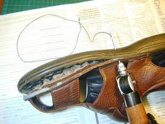 cómo coser con cuero cosido lezna