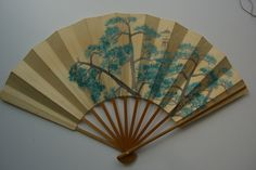 Antique hand painted Japanese fan, traditional pine design. $28.00, via Etsy.