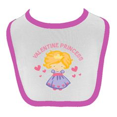 Sweet Valentine Princess Baby Bib has lots of love and hearts for your sweetheart to wear and makes a nice 1st Valentines Day gift. $9.99 www.homewiseshopperkids.com #ValentinesDay #princess #babygirl