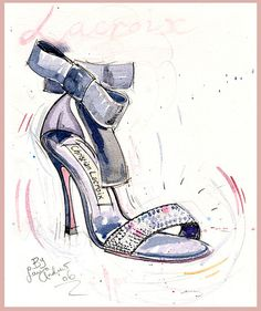 Fine Art SHOE PRINT - of Christian Lacroix shoes, bow shoe painting by Laura Andrew A4