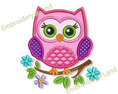 Cute Owl Applique Embroidery design Machine Embroidery for Baby 4x4 5x7 6x10 sizes AN025