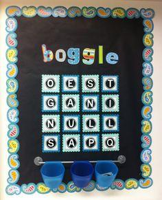 Love this idea!  Create●Teach●Share: Boggle Board w/ Printable!!!