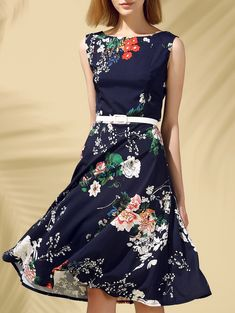 $12.89 Vintage Round Neck Sleeveless Floral Print Slimming Dress For Women