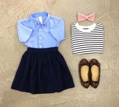 KIDS Short Sleeve Button Down, Full Woven Skirt and Knit Stripe Sweater Crew Neck