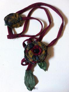 Fabric Necklace (Type2) *Season's flower*5- Creative Recycling collection-handmade-by GiuvaDesign di GiuvaDesign su Etsy