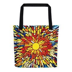 "Tote Bag: ""STAINED GLASS"" PATH of TOTALITY Solar Eclipse August 21, 2017"