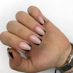 french nails gel Art Tutorials in 2020 Cute Nails, Pretty Nails, My Nails, Dark Gel Nails, Minimalist Nails, Gel Nail Art, Nail Manicure, Acrylic Nails, Sqaure Nails