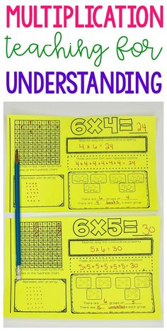 Teach multiplication facts for BOTH memorization and understanding with these Multiplication Fact Booklets. This teaching resource go through the 12 facts! Math Strategies, Math Resources, Math Activities, Math Tips, Math Tutor, Teaching Math, Math Education, Math Multiplication, Subitizing