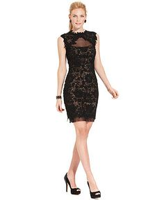 Betsy & Adam Dress, Sleeveless Illusion Contrast Lace Sheath - Dresses - Women - Macy's