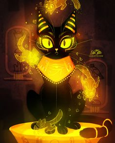 lilacattis:  #yellowtintedweek 5/7  Bastet, the cat goddess. i love Ancient Egypt ❤