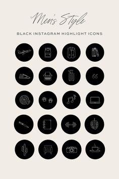 Black text Instagram highlight covers Handwritten highlight icons Minimalist social media icons Highlight icon covers IG Story Covers vozeli com
