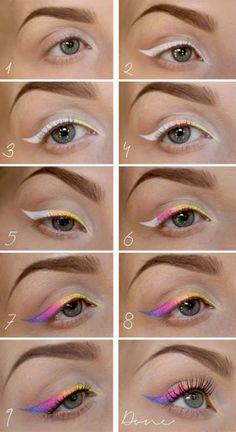 eyeliner inspiration make up Kajal Eyeliner, Lila Eyeliner, Eyeliner Looks, Color Eyeliner, Apply Eyeliner, Eyeliner Flick, Eyeliner Liquid, Black Eyeliner, Makeup Fx