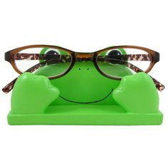 JewelryNanny Fun Frog Eyeglass Holder Stand for Kids Women - Securely Hold Kids Eyeglasses, Adult Reading Glasses Like Bedside Nightstand Organizer, Cute Desk Accessories Eyeglass Holder Stand, Frog House, Cute Desk Accessories, Frog Life, Frog And Toad, Frog Frog, Cute Frogs, Funny Frogs, Green Purse