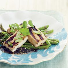 Lee Ann Wong Grilled Tofu with Asparagus and Nori Vinaigrette (Recipe)