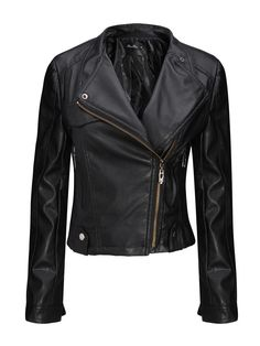 Sale 17% (23.89$) - Cool Black Zipper PU Leather Stand Collar Bomber Jacket