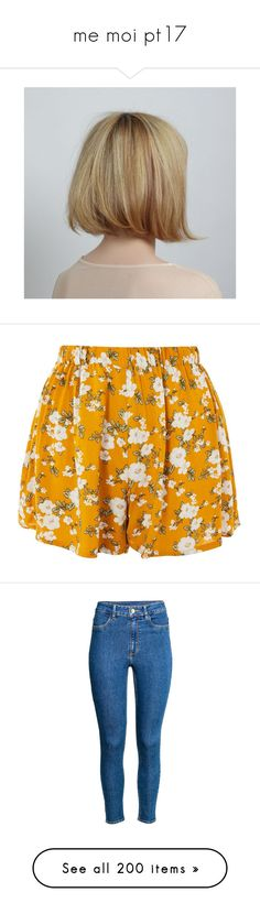 """""""me moi pt17"""" by rowan-asha ❤ liked on Polyvore featuring hair, shorts, mustard, summer high waisted shorts, high-waisted shorts, high waisted floral shorts, elastic waistband shorts, floral print shorts, jeans and bottoms"""