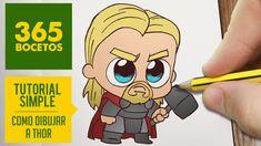 Como dibujar a Thor como dibujos kawaii faciles es el tema de nuestro vídeo de hoy. // How to draw Thor is the point of this video. Kawaii Drawings, Cartoon Drawings, Easy Drawings, Avengers Drawings, Avengers Cartoon, Thor Drawing, Dumbo Drawing, 365 Kawaii, Thor Tattoo