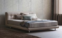 Comfort, wellness and timeless elegance are the keywords to describe this bed… Milan Furniture, Design Furniture, Shabby Chic Fabric, Contemporary Fabric, Home Comforts, Settee, Bed Storage, Bedroom Styles, Retail Design