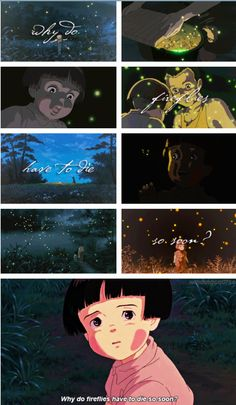 Grave of the Fireflies / 火垂るの墓 / Hotaru no haka written and directed by Isao Takahata for Shinchosha. This is the first film produced by Shinchosha, who hired Studio Ghibli to do the animation production work. It is an adaptation of the semi-autobiographical novel of the same name by Akiyuki Nosaka, intended as a personal apology to the author's own sister. Some critics—most notably Roger Ebert—consider it to be one of the most powerful anti-war movies ever made.