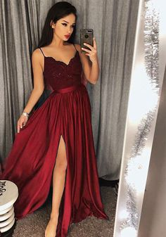 burgundy prom dress slit spaghetti
