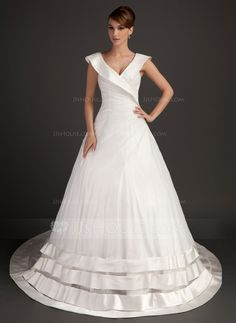 Ball-Gown V-neck Chapel Train Organza Satin Wedding Dress With Ruffle (002015526)