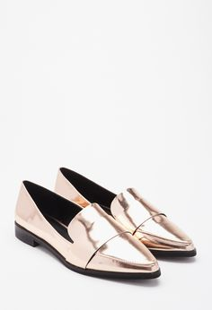 Metallic gold faux leather pointy loafers, $24.90; at Forever 21