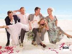 Amanda Seyfried (Sophie), Colin Firth (Harry), Stellan Skarsgård (Bill), Pierce Brosnan (Sam), Meryl Streep (Donna) - Cast of Mamma Mia (2008)