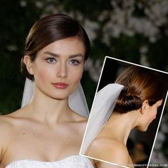 A very sophisticated way to wear your wedding veil with a simple low bun Latest Runway Wedding Hairstyles Ideas #wedding #bride #veil #hairstyle Like this but with different hair style (more plaits and curls)