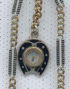 Reloj De Bolsillo La Vendimia Relojes Steel Niello Gold Compass Fob Chain Watch Antique