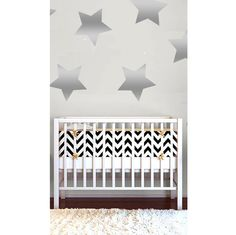 Silver Star Wall Decals - love these oversized metallic gold stars as a bold accent wall in the nursery!
