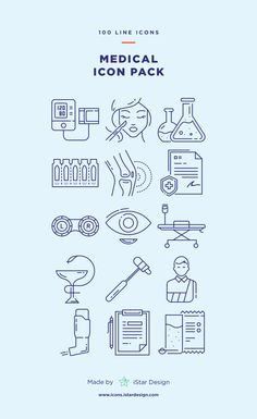 Medical Icons Set made by iStar Design. Series of 100 line icons, created by influence of modern medicine, first aid and health. Neatly organized icon, file and layer structure for better workflow experience. Carefully handcrafted icons usable for digital design or any possible creative field. Suitable for print, web, symbols, apps, infographics.