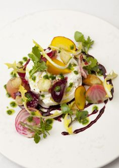 Buratta, beetroot, watercress and dandelion, one of Marcus Wareing's popular dishes