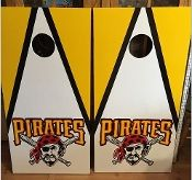 Pittsburgh Pirates Custom Made Corn hole Boards - These Cornhole boards are handcrafted, hand painted and custom made for each of our customers. Free set of cornhole bags are also provided for $169.99. They make great gifts for anyone for any occasion! We love custom orders and will make your team, theme or wedding. Contact us at www.fscustomcraftcreations.com.