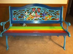 Hand painted Rainbow (cast iron) bench I refurbished for my friend Maritza Justiniano! By Sarah Shelton, Artist In Action.
