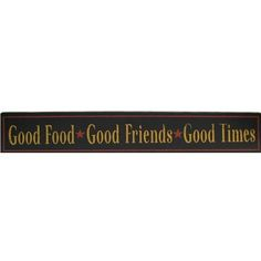 "Display this Good Food Good Friends Good Times Sign in your kitchen or dining room! This black MDF sign features pale orange lettering, red stars, and a red border. This sign will easily complement your other home decor items, making it an easy, classy addition to your home!    	     	Dimensions:    	  		Length: 5 13/16""  	  		Width: 35 7/8""  	  		Thickness: 1""      	     	Hanging Hardware Details:     	  		2 - Sawtooth Hangers  	  		Hanger Spacing: ..."