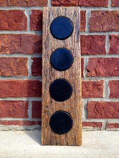 Reclaimed Wood, Hockey Puck Display for Four Items by GroveWoods on Etsy https://www.etsy.com/listing/205832961/reclaimed-wood-hockey-puck-display-for