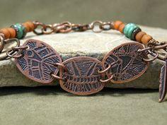Etched Metal Bracelet  Beaded Bracelet  Tribal by StoneWearDesigns.etsy.com