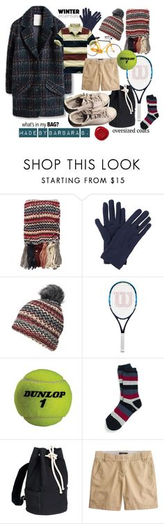 """""""Coat on, take the bike and play tennis."""" by barb8 ❤ liked on Polyvore featuring Dorothy Perkins, John Lewis, Acqua di Parma, Misto, Dunlop, Tommy Hilfiger, J.Crew, adidas, WhatsInMyBag and oversizecoat"""