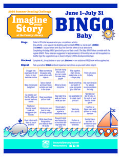 2020 Summer Reading Challenge -- Imagine Your Story at the County Library