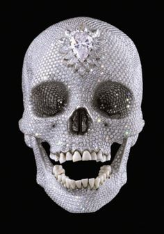 For the Love of God by Damien Hirst. For the Love of God is a sculpture by artist Damien Hirst, produced in It is a platinum cast of a human skull encrusted with flawless diamonds, including a pear-shaped pink diamond on the forehead. Memento Mori, Diamond Skull, Norman Bates, Human Skull, Arte Popular, Popular Pins, Crystal Skull, Skull And Bones, Art Plastique