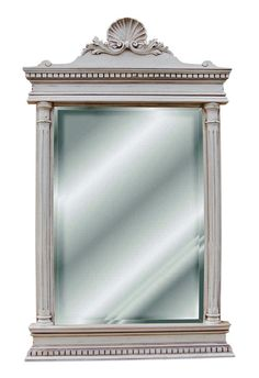 Colonial Style with Clam Motif and Columns Wall Mirror Antique Reproduction, Old World White Finish