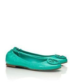 tory burch ballerina - Tory Burch shoes - tumbled LEATHER REVA BALLET FLAT turquoise.jpg