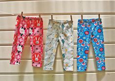 VERY EASY PATTERN --- Childs Leggings Pattern. This pattern includes a print shop option.  Fabrics from Wickedly Woven --   https://www.etsy.com/listing/161731143/childrens-leggings-pdf-sewing-pattern?ref=shop_home_active_17