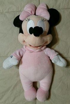 "Disney Baby Minnie Mouse Soft Pink Velour Plush Small 13""Stuffed Animal NWOT"