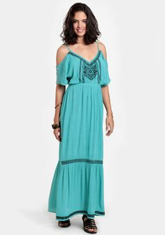 Southern Peru Embroidered Maxi Dress 50.00 at threadsence.com